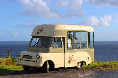 Ireland, Dingle - Aug 2016: Food and drink van on coastal road