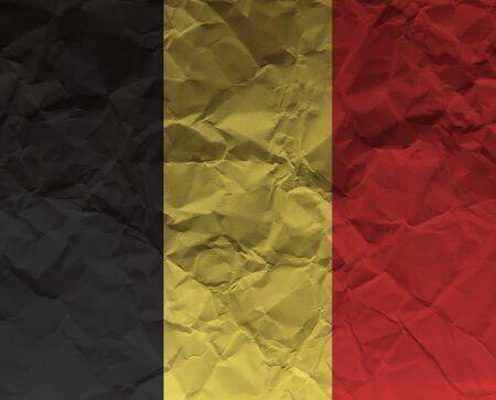 High resolution crumpled paper textured flag of Belgium