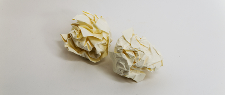 res: two yellow Crumpled paper Balls - High res image