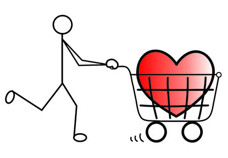 which: Man vector push cart which carry heart Illustration