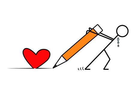 essayer: Man vecteur essayer de coeur dessin� avec un crayon
