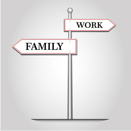 prioridades: Selecci�n hito abstracta entre trabajo y familia, vector e ilustraci�n