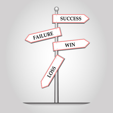 Success x Failure and Win x Loss creative sign with guidepost, vector and illustration  イラスト・ベクター素材