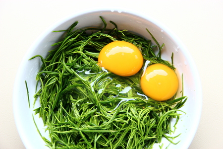pennata: Preparing for cooking with egg yolk mix vegetables
