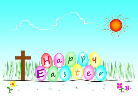 pasqua cristiana: Illustrazione di Happy giorno di Pasqua e Vector Vettoriali