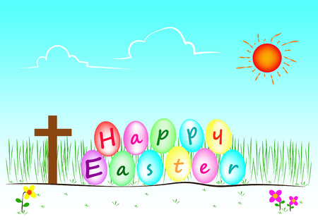 christian festival: Vector and illustration of Happy easter day