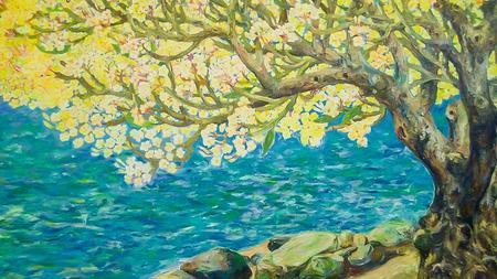自然の風景と黄色ツリー、公共タイの寺院ワット ・ Bannrai で壁に芸術の水彩絵の具 写真素材