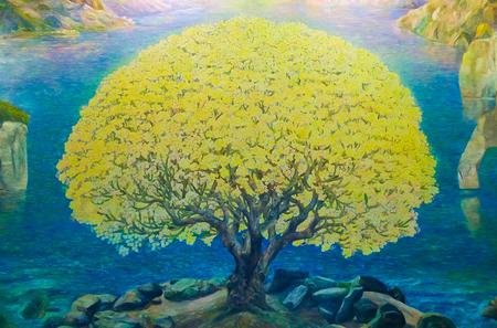 pintura abstracta: Pintura de la acuarela del paisaje de la naturaleza y el �rbol de color amarillo, arte en la pared en Wat Bannrai, templo P�blica de Tailandia
