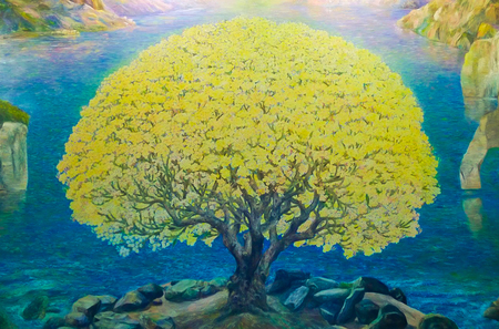 blue green landscape: Watercolor paint of Nature landscape and yellow tree, Art on wall at Wat Bannrai, Public temple of Thailand