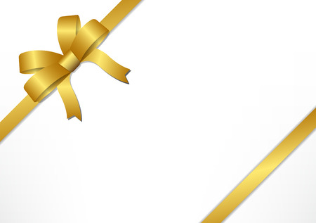 Golden gift bows and ribbons on white gift box background , vector illustration 矢量图像
