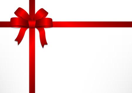 Arcs et des rubans de cadeaux rouges sur fond blanc boîte cadeau fond pour Noël, Nouvel An et la Saint-Valentin, illustration vectorielle