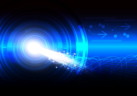 Abstract technology and science background with curve line like as high speed data transference of communication system, vector illustration