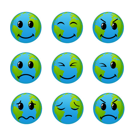 Emoticon icon set of world face, vector illustration Illustration