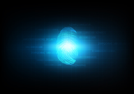 Abstract technology background for security and privacy system with fingerprint, Vector illustration 矢量图像