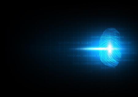 Abstracte technologie achtergrond voor beveiliging en privacy systeem met vingerafdruk, Vector illustratie Stock Illustratie