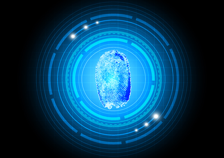 Cybersecurity technology with finger print, vector illustration Illustration