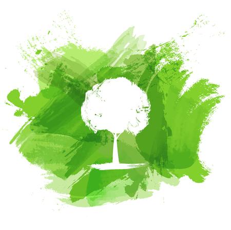 エコロジー概念、ベクトル図の白いツリーと緑の水彩絵の具