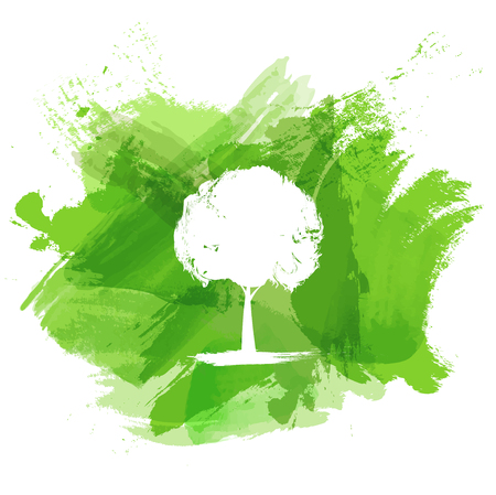 Green watercolor paint with white tree for Ecology concept, Vector illustration