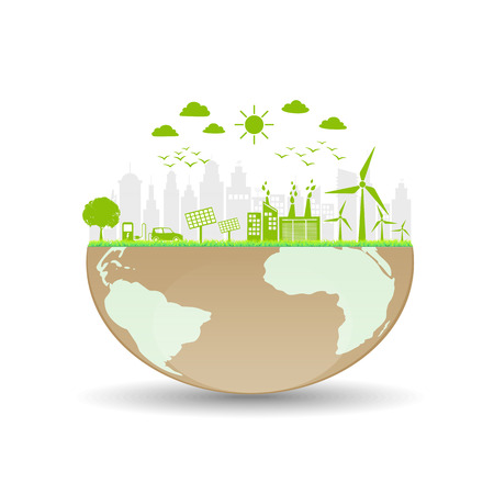 World ecology friendly and sustainable concept, vector illustration