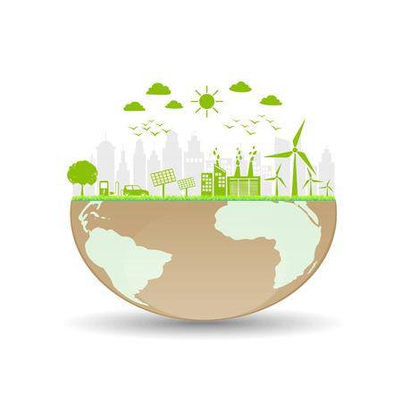 Wereld ecologie vriendelijk en duurzaam concept, vector illustratie