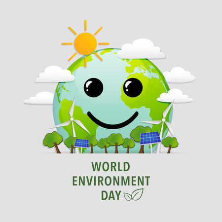 earth day: World environment day with world smile face, happiness of green natural city, Ecology friendly concept, vector illustration