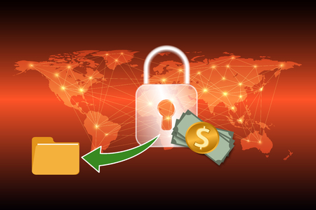 Malware Ransomware wannacry virus encrypted files graphic design for cybercrime and cyber security concept,Vector illustration Illustration