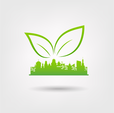 Eco friendly concept with Green city logo, Vector illustration. Ilustrace