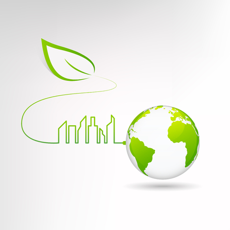 Eco green city and sustainable world concept, Vector illustration.