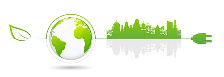 Eco città verde e concetto di mondo sostenibile, illustrazione vettoriale.