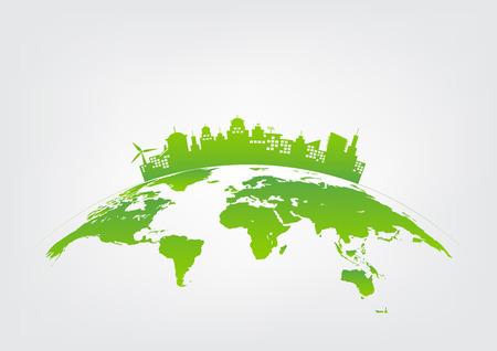 Zrównoważony rozwój i pojęcie miasta zielony, środowisko świata, ilustracji wektorowych