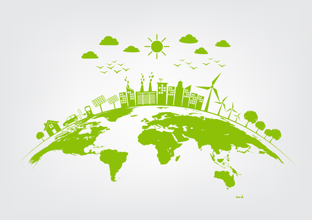 Green city on earth, World environment and sustainable development concept, vector illustration Illustration