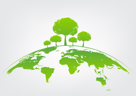 Green tree on earth for ecology friendly concept and World environment and sustainable development concept, vector illustration Çizim