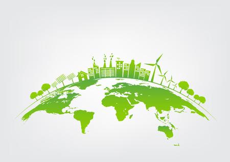 Concepto de ecología con la ciudad verde en la tierra, el medio ambiente Mundial y el concepto de desarrollo sostenible, ilustración vectorial