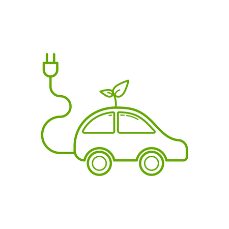 Outline of electric car icon on white background, Ecology and green energy concept, Vector illustration Illustration