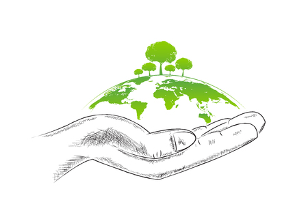 Ecology friendly concept with hand sketch, vector illustration