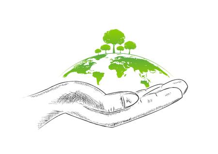 손 스케치, 벡터 일러스트와 함께 생태 친화적 인 개념