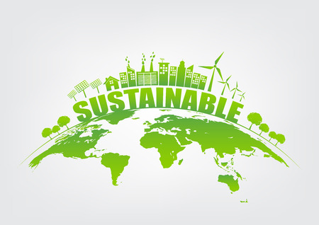 Concetto di ecologia con la città verde su terra, sull'ambiente del mondo e sul concetto di sviluppo sostenibile, illustrazione di vettore