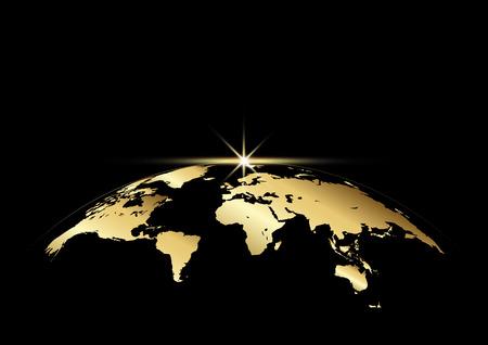 Ziemia i promień ze złotym kolorem na czarnym tle dekoracji, ilustracji wektorowych
