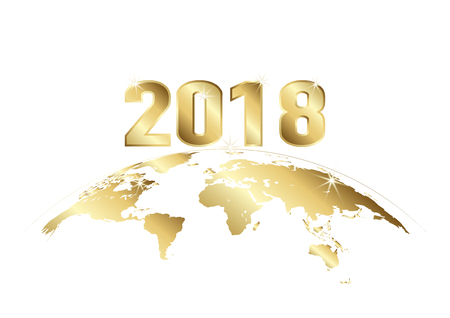 2018 in golden text over earth on white background Illustration