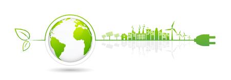 Elementi di design di banner per lo sviluppo di energia sostenibile, concetto di ecologia e ambiente, illustrazione vettoriale Vettoriali