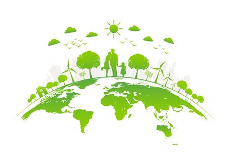 Eco amichevole con la città verde su terra, giornata mondiale dell'ambiente e concetto di sviluppo sostenibile, illustrazione di vettore