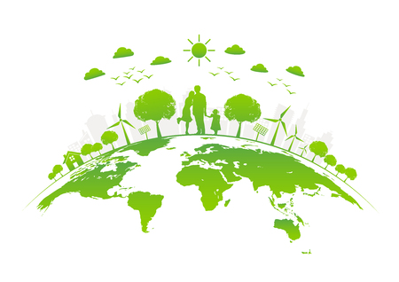 Eco friendly with green city on earth, World environment day and sustainable development concept, vector illustration Çizim
