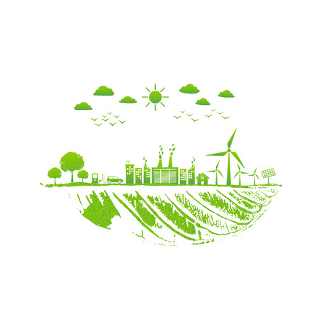 Green city and ecology friendly, World environment and sustainable development concept, vector illustration
