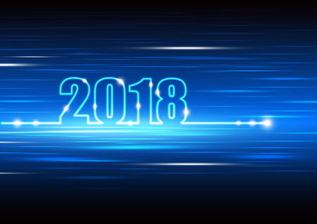 Technology abstract background for happy new year 2018, digital design concept with fiber optic moving, vector illustration