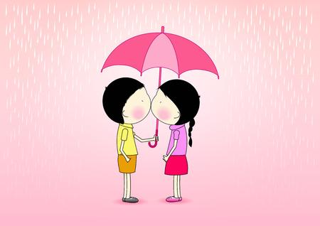 Cute cartoon romantic, boy hold an umbrella for a girl in the rain, love and romance concept,vector illustration