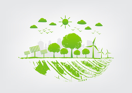 Sustainable Energy systems concept for environment and natural saving and green city, vector illustration Illustration