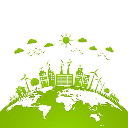 Ökologiekonzept mit grüner Stadt auf Erde, Weltumwelt- und Entwicklungskonzept, Vektorillustration Vektorgrafik