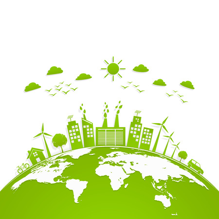 Ecology concept with green city on earth, World environment and sustainable development concept, vector illustration Çizim