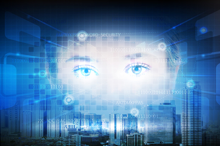Futuristic technology of user interface by iris of the eye with double exposure of cityscape, Business security and VR technolgy concept