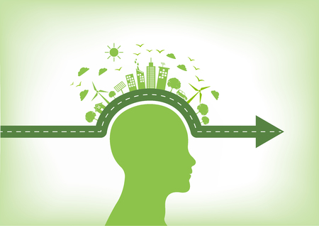 Go green, environmentally saving and ecology friendly concept with human head vector illustration.